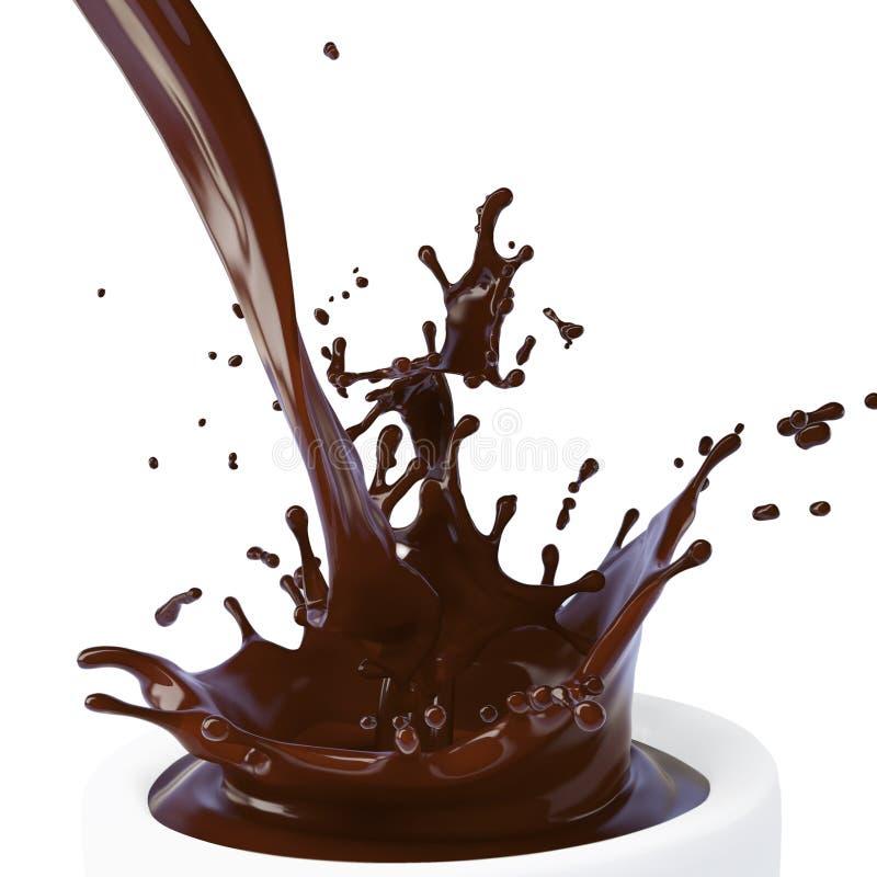 棕色巧克力热查出的飞溅 库存例证