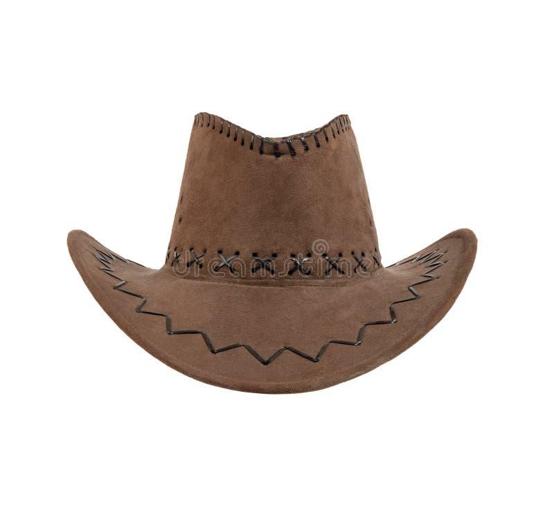 棕色斜角牛仔帽 库存图片