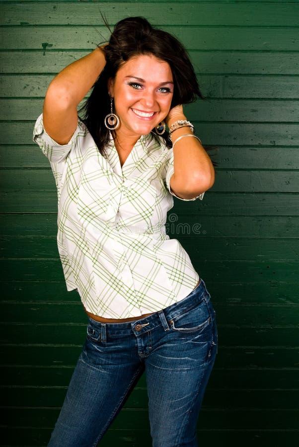 棕色方式头发设计性感的妇女 图库摄影