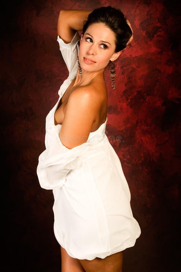 棕色方式头发长的性感的妇女 图库摄影