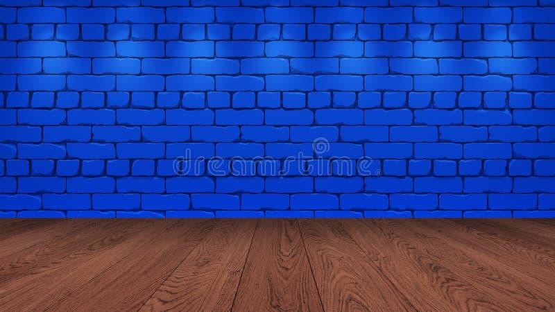 棕色木台式在背景中是一块蓝色老砖 对墙壁的聚光灯作用-能为显示使用或 库存图片