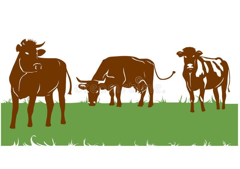 棕色母牛剪影 皇族释放例证
