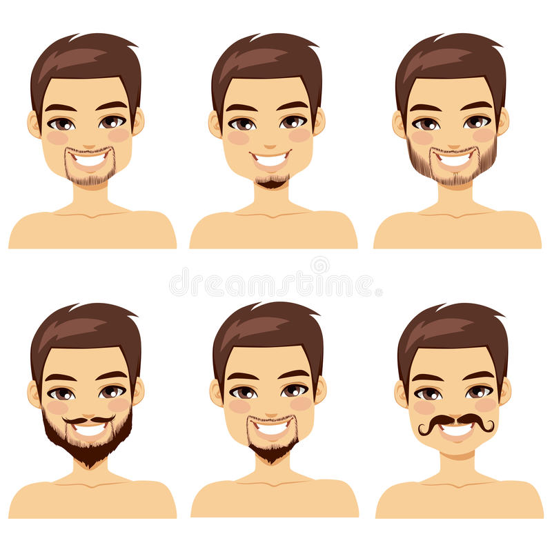 棕色毛发的人胡子样式 库存例证