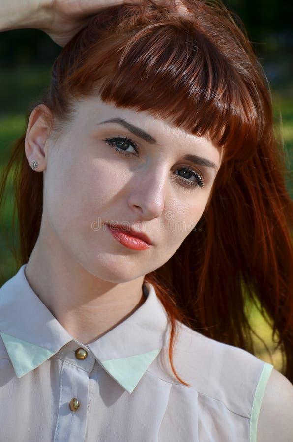 棕色毛发的女孩特写镜头画象  库存照片