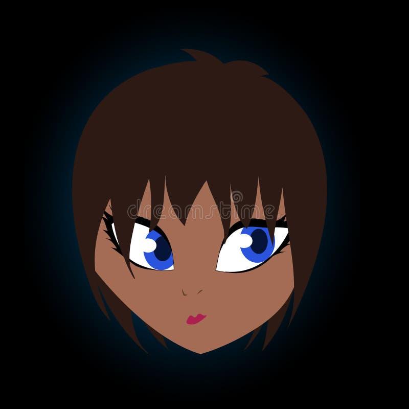 棕色毛发的相当色的十几岁的女孩动画片传染媒介艺术 向量例证