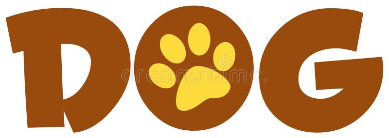 棕色狗爪子打印文本 向量例证