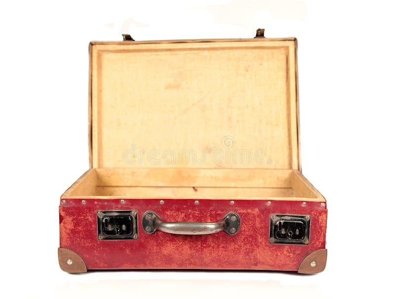 棕色皮革开放手提箱葡萄酒 免版税库存照片