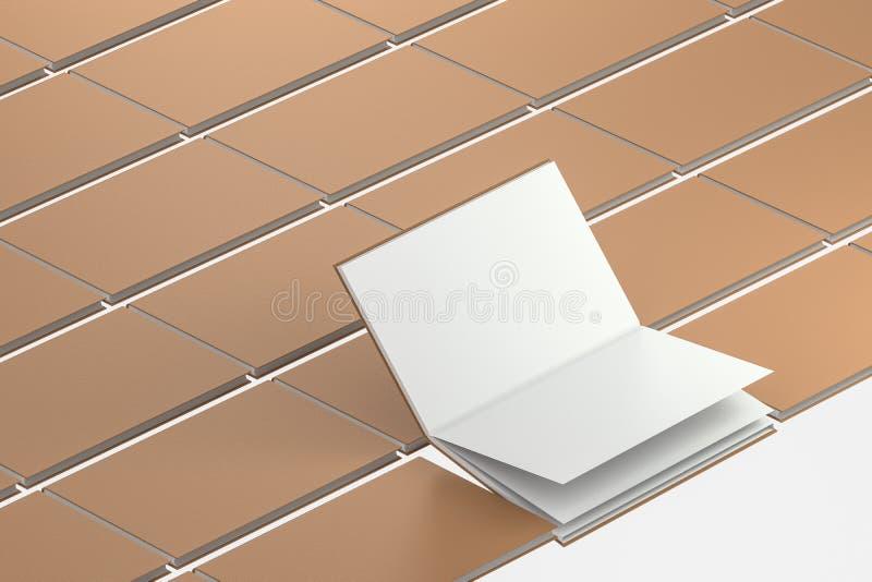 棕色空白的打开的笔记本背景,3d翻译 向量例证