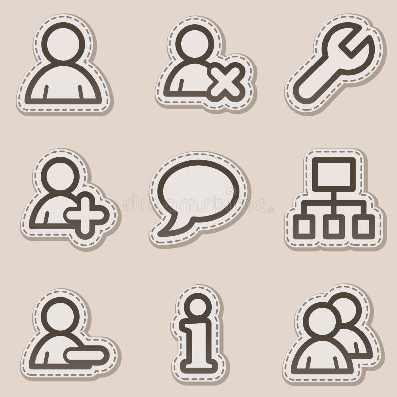 棕色等高图标系列贴纸用户万维网 库存例证