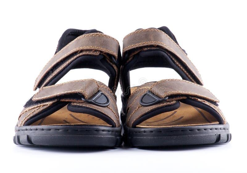 棕色紧固件人s凉鞋鞋子维可牢尼龙搭扣 免版税库存图片