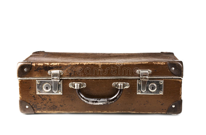 棕色老手提箱 免版税库存图片