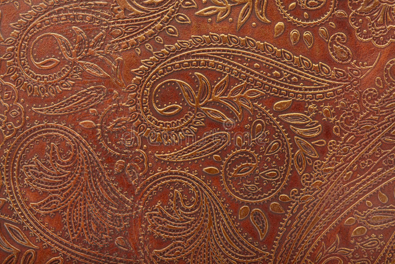 棕色花卉皮革模式 免版税库存图片