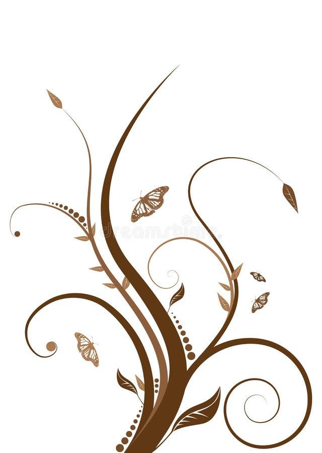 棕色花卉 库存例证