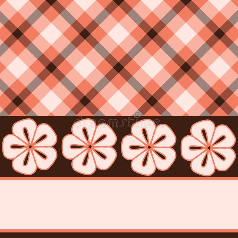 棕色花粉红色格子花呢披肩 向量例证