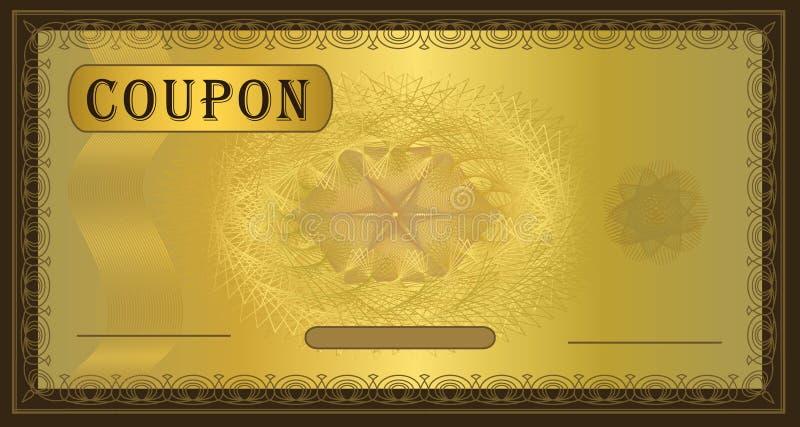 棕色赠券框架金子 库存图片