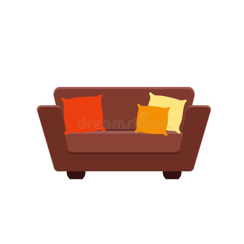 棕色长沙发的传染媒介例证有枕头的 向量例证