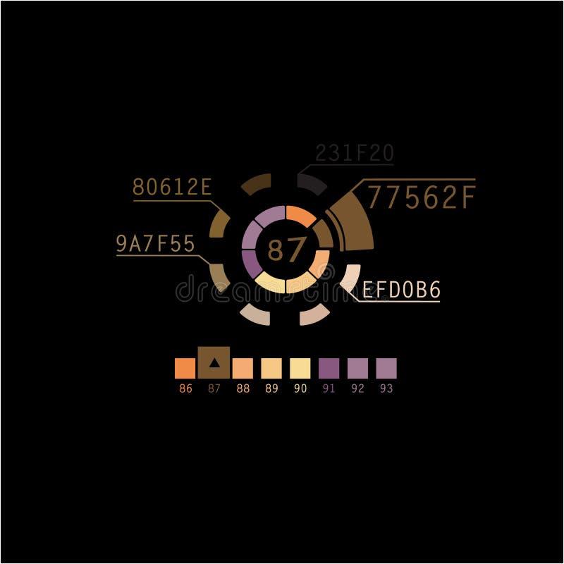 棕色颜色infographics  颜色圈子可以使用作为动画 皇族释放例证