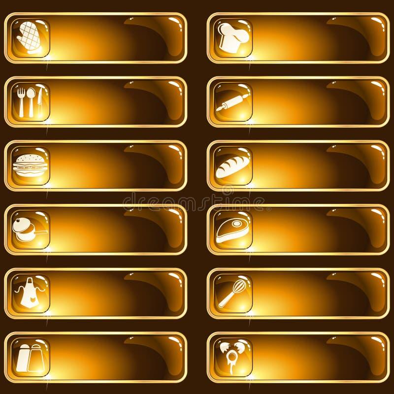 棕色食物光滑的金标签 皇族释放例证