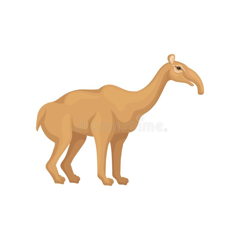 棕色食蚁兽的例证 与长的口鼻部的史前哺乳动物的动物 从冰河时期的绝种生物 野生生物题材 库存例证