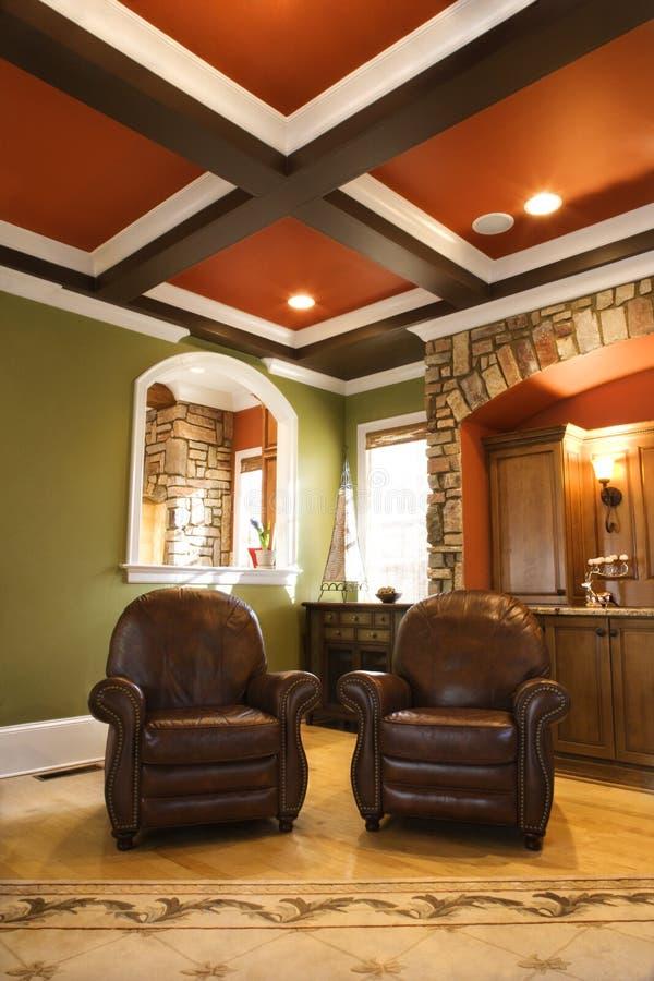 棕色高级椅子皮革客厅 免版税库存图片
