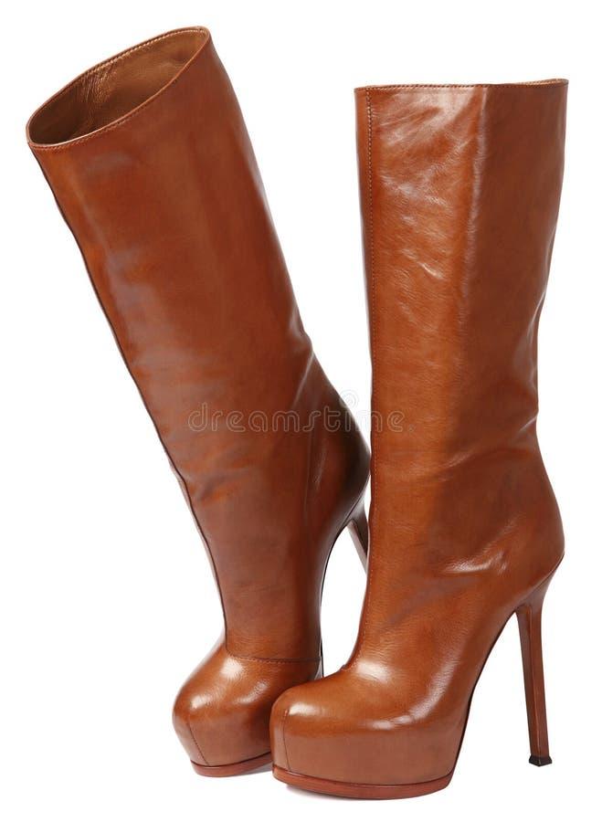 棕色高鞋子 库存照片
