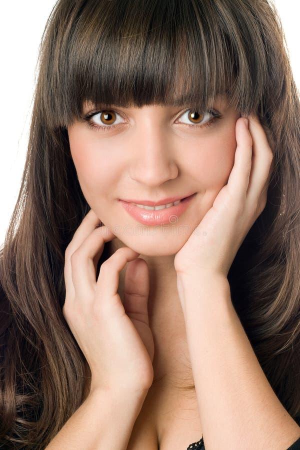 棕色黑眼睛头发妇女年轻人 库存图片