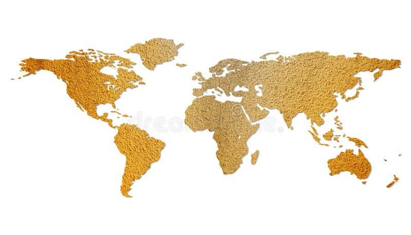 棕色eco查出的映射世界 库存例证