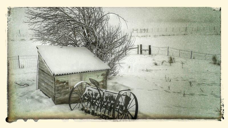 棚子在冬天 免版税库存图片