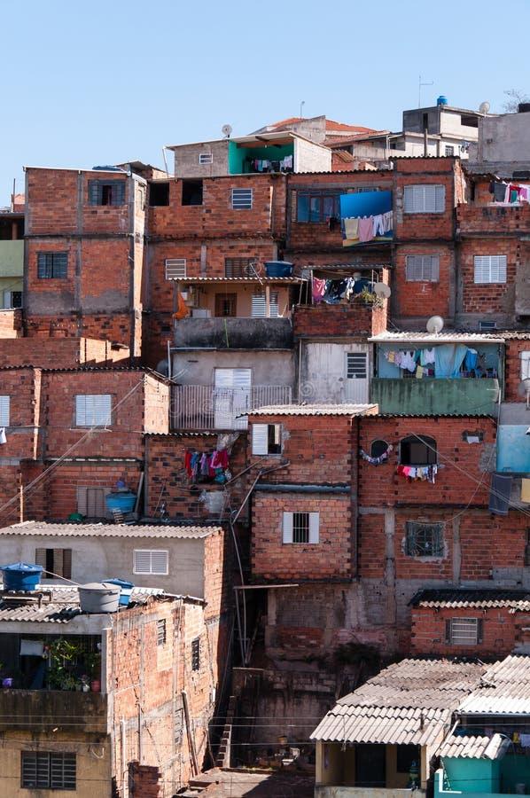 棚子在贫民窟在圣保罗 图库摄影