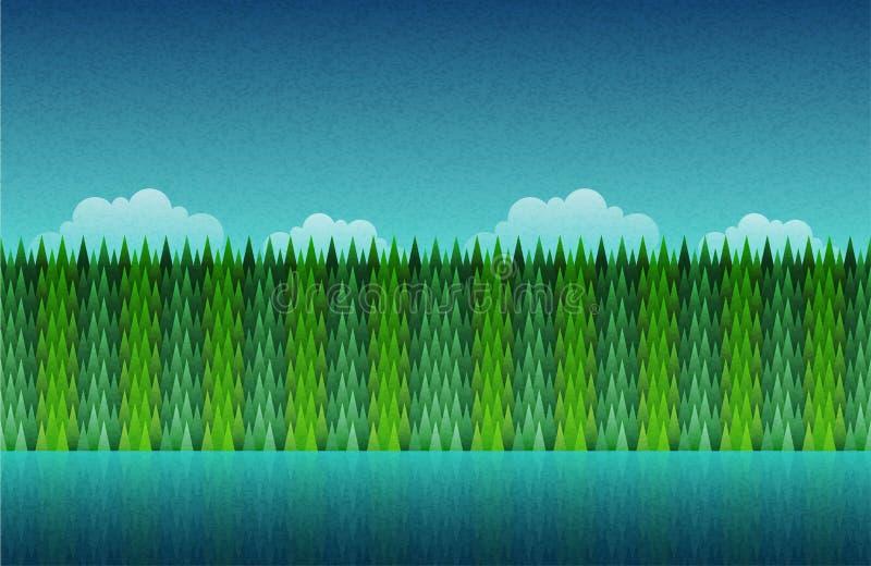 森林、无缝的湖和的天空 向量例证