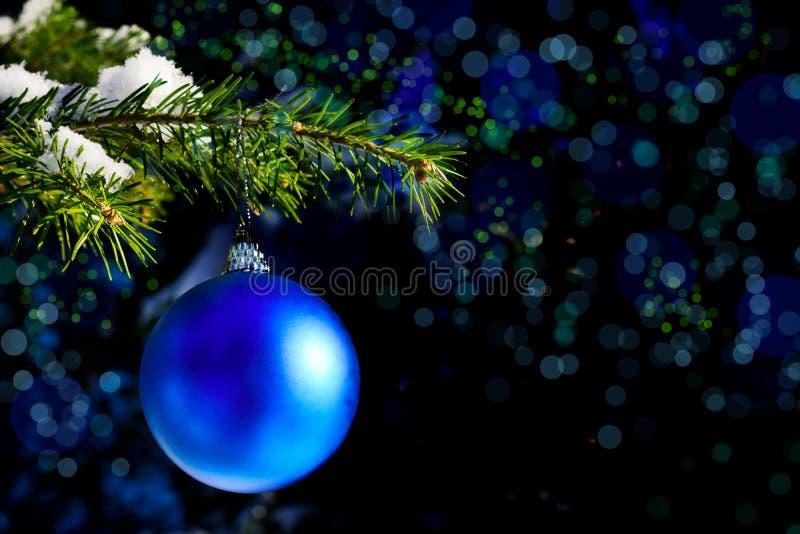 森林与蓝色装饰品的圣诞树分支 库存图片