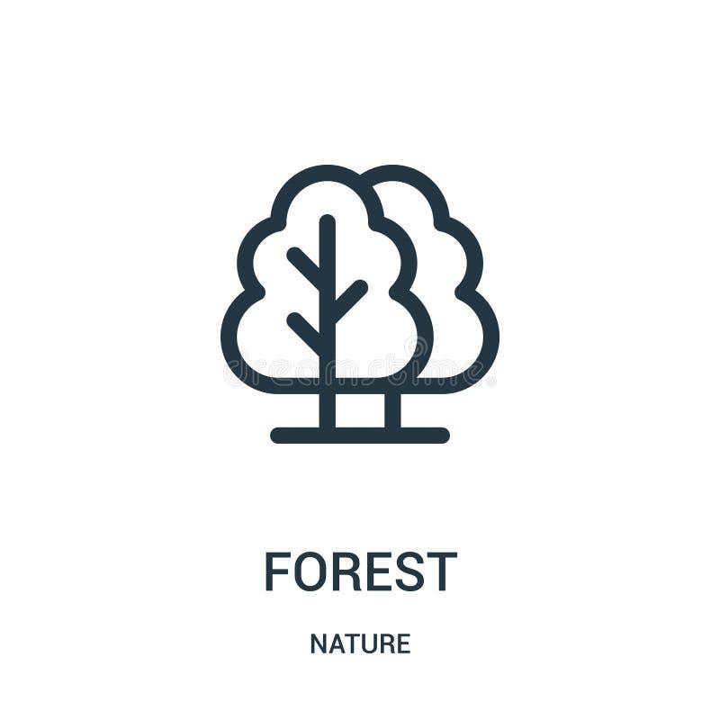 森林从自然汇集的象传染媒介 稀薄的线森林概述象传染媒介例证 线性标志为在网的使用和 向量例证