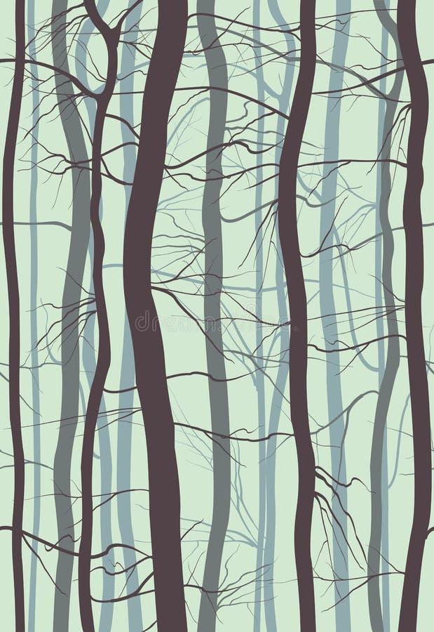 森林分支无缝的样式 在春天,冬天光秃的树传染媒介例证使模糊 向量例证