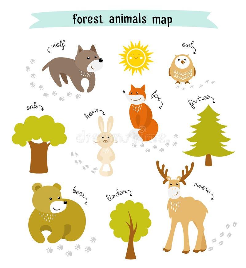 森林动物导航与树和动物脚印的地图图片