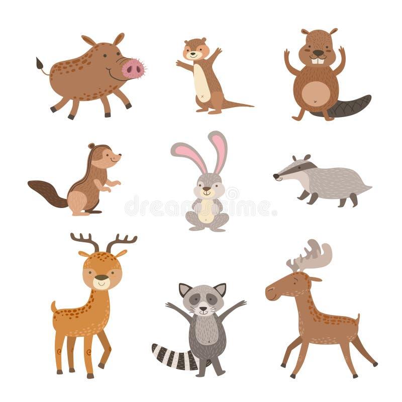 森林动物汇集 向量例证