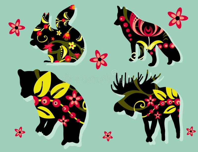 森林动物被绘的剪影 库存照片