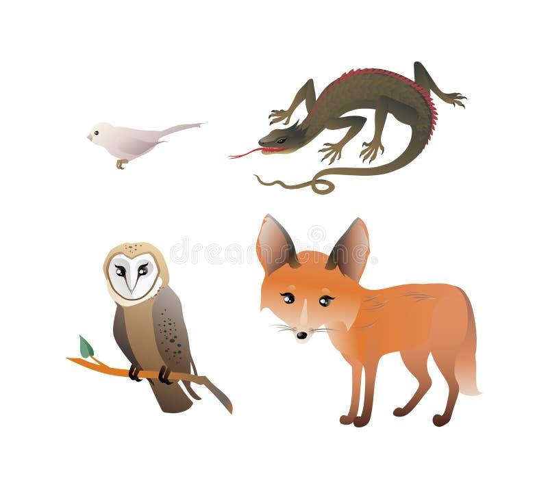 """森林动物设置了†""""镍耐热铜,猫头鹰,鸟,蜥蜴 向量例证"""