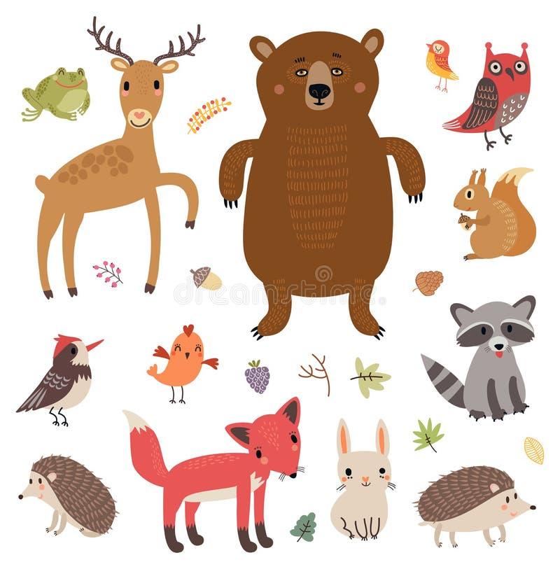 森林动物 动画片重点极性集向量 逗人喜爱的字符的汇集 向量例证
