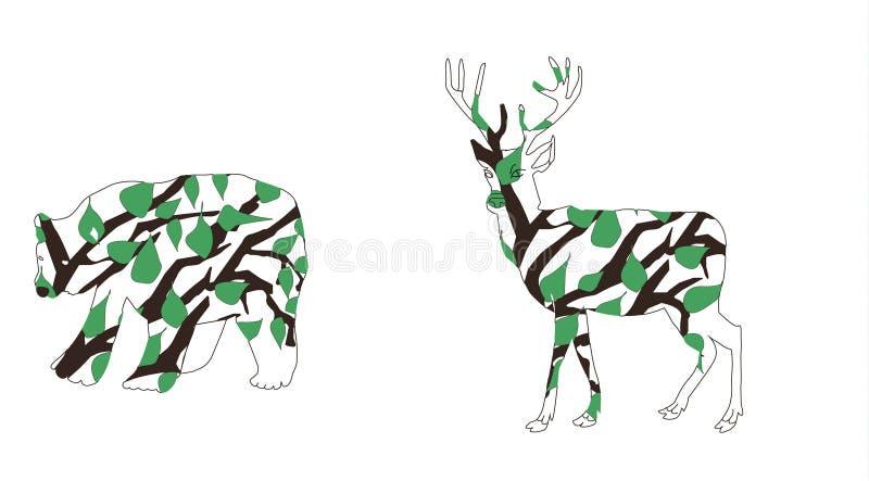 森林动物-熊和鹿 概述铅笔 从树和叶子分支的动物  皇族释放例证