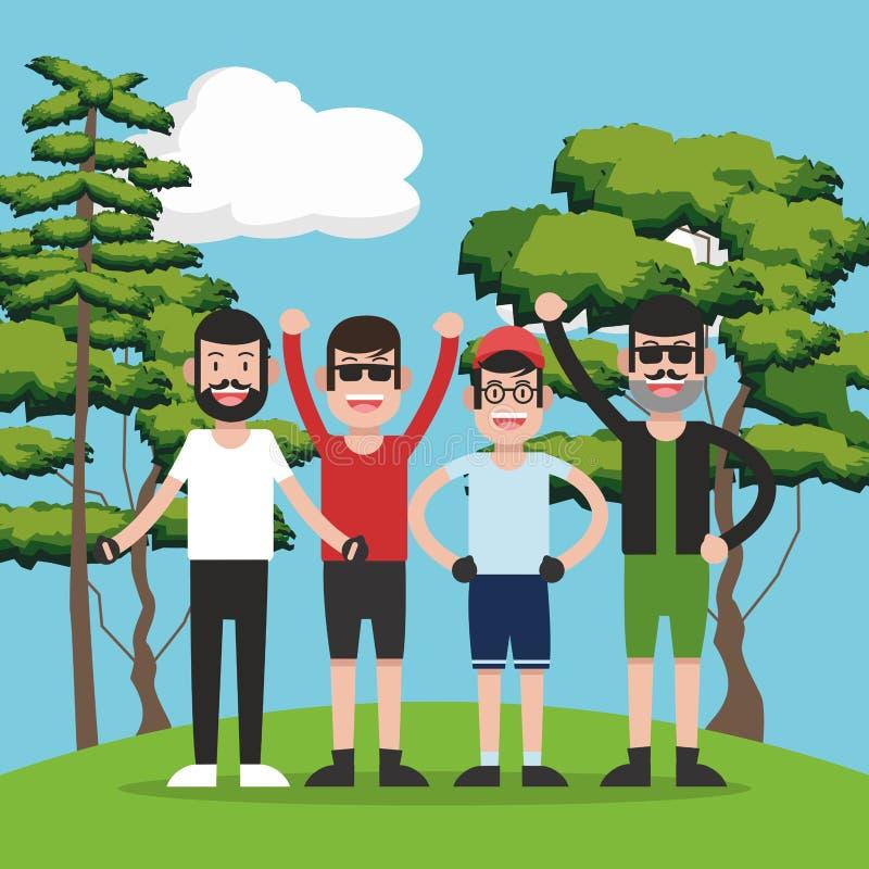 森林动画片的青年人 向量例证