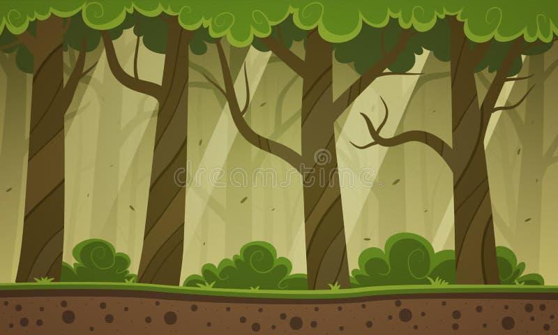 森林动画片背景 向量例证