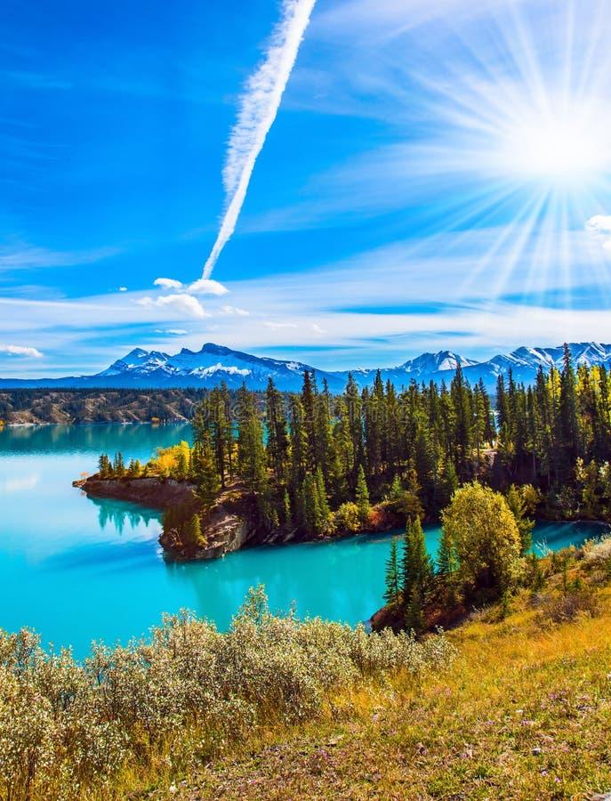 森林包围天蓝色的湖 免版税库存照片