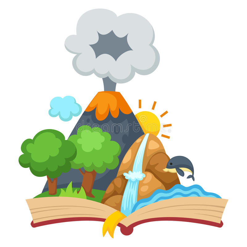 森林和山与开放书 皇族释放例证