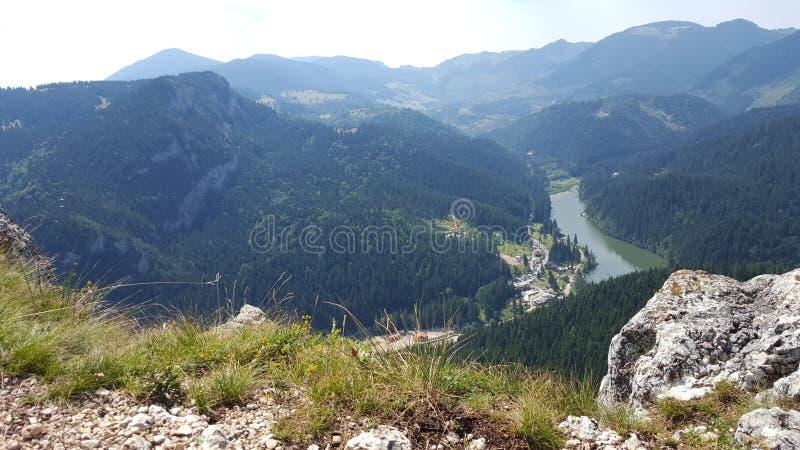 森林和山峰包围的湖的巨大看法 库存图片
