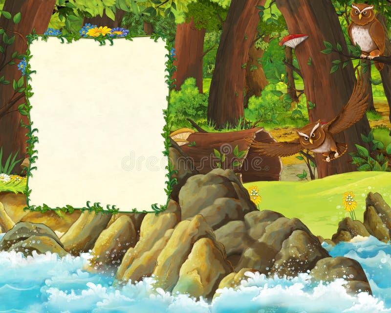 森林和海封面草甸有猫头鹰的和岸动画片场面与空间文本的 向量例证