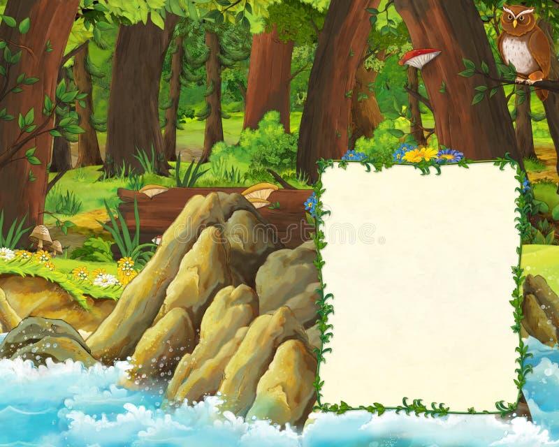 森林和海封面草甸有猫头鹰的和岸动画片场面与空间文本的 皇族释放例证