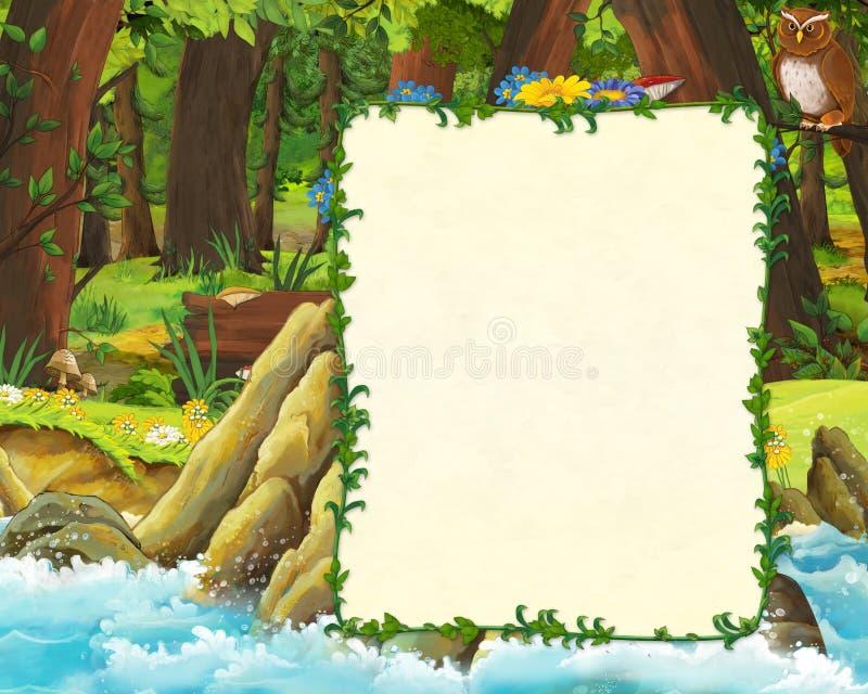 森林和海封面草甸有猫头鹰的和岸动画片场面与空间文本的 库存例证