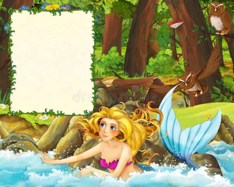 森林和海草甸有猫头鹰的和岸动画片场面有美人鱼游泳的-封面与空间文本的 库存例证