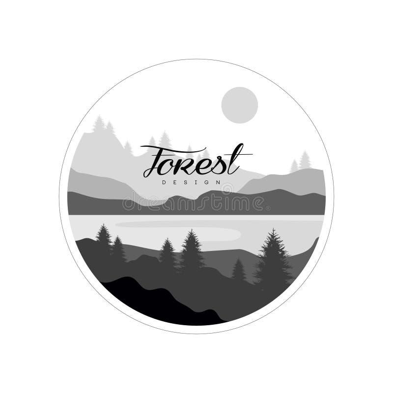 森林商标设计、美好的自然风景与树剪影,山和河,自然场面象 皇族释放例证
