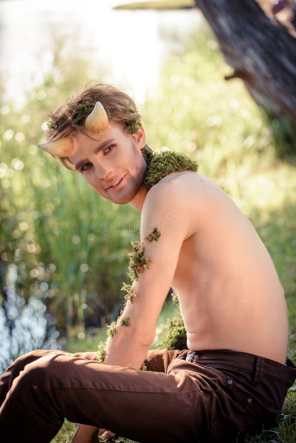 森林国王 百兽之王在毛皮的 野生年轻人 垫铁和构成 对chelowin的时尚概念 河森林和太阳 库存照片